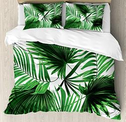 Ambesonne Palm Leaf Duvet Cover Set Queen Size, Realistic Vi