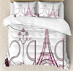 Ambesonne Paris City Decor Duvet Cover Set Queen Size, Tower
