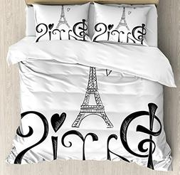 Paris City Decor Queen Size Duvet Cover Set by Ambesonne, Il