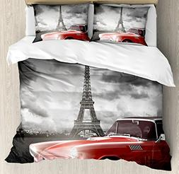 Ambesonne Paris Decor Duvet Cover Set, Fancy Vintage Car wit