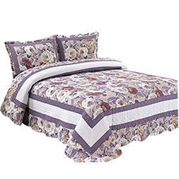 Newrara Patchwork Quilt Cotton Light Purple Big Flower Queen