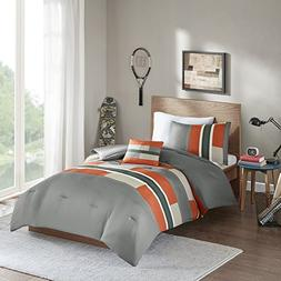Comfort Spaces - Pierre Comforter Set - 4 Piece - Gray/Orang