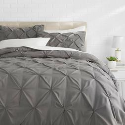 AmazonBasics Pinch Pleat Comforter Set - Full/Queen, Bright