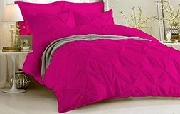Pinch Pleated Duvet Cover Set 3 Piece With Zipper & Corner T