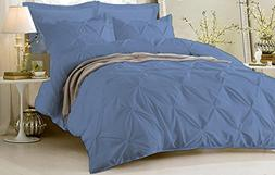 Kotton Culture Pinch Pleated Duvet Cover Set 3 Piece with Zi