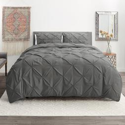Pinch Pleated Duvet Cover Set Luxurious Premium Quality Cove