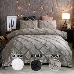 Pinched Pleat Down Alternative Comforter Set Queen King Size