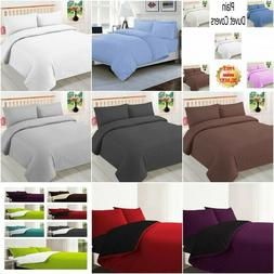 Plain 3Pc Reversible Duvet Cover with Pillowcase and Fitted