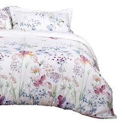 Bedsure Printed Floral Duvet Cover Set Queen/Full Size White