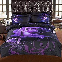 Alicemall Purple Bedding Set Queen Size Rayon Big Blooming P