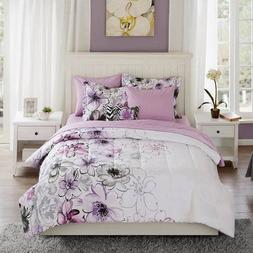 DP 8pc Purple Watercolor Floral Comforter Set Queen Sheets,
