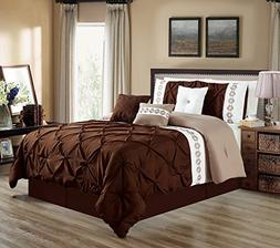 7 Pieces QUEEN size DARK Brown / Taupe / White Double-Needle
