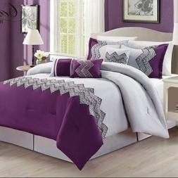 Queen Cal King Bed Purple Gray Grey Abstract Geometric 7pc C