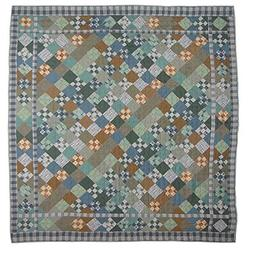 Patch Magic Queen Chambray Nine Patch Quilt, 85-Inch by 95-I
