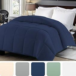 Queen Comforter Down Alternative - Navy Blue Duvet Insert or