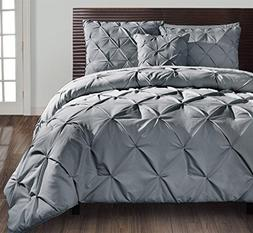 Queen Size Comforter Set in Grey Posh Pintuck 4 Pc Set w/ De