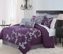 9 Piece Queen Duchess Plum and Gray Comforter Set by KingLin