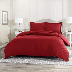 Queen Size 3 Piece Duvet Cover Set Bedding Burgandy Super So