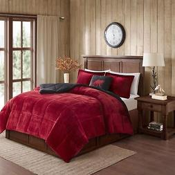 Queen/ Full Size Comforter Set 4 Piece Faux Fur Bed Bedding
