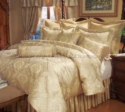18 Piece Queen Gold Imperial Bed in a Bag w/ Sheet Set and C