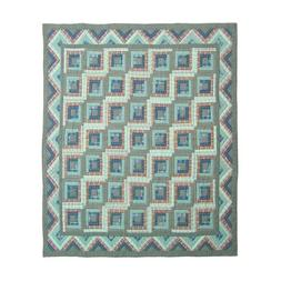 Patch Magic Queen Green Log Cabin Quilt, 85-Inch by 95-Inch