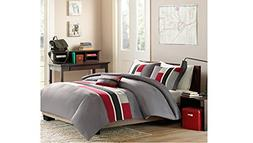 4 Piece Full Queen Grey Red Striped Comforter Set, Geometric