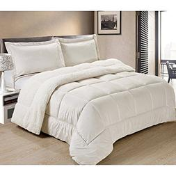 3 Piece Queen Ivory Comforter Set, Faux Suede, and Reversibl