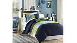4 Piece Full Queen Navy Teal Blue Light Green Striped Comfor