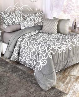 Queen Or King Size Comforter Set Gray And