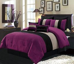 8 Piece QUEEN Size DARK PURPLE / BLACK / WHITE Pin Tuck Stri