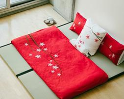 Full Queen red and white 3 piece Duvet Cover Set, coverlet c
