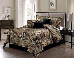 7 Piece QUEEN Safari Micro Fur Comforter set - Zebra, Giraff