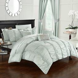 PH 10 Piece Queen Sage Green Comforter Set, Ruched, Solid Co