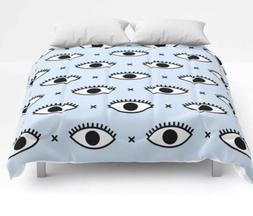 queen size comforter baby blue with evil