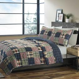 Lodge Quilt Set Queen Size Comforter Bed Cover Red Blue Patc