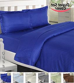 Queen Striped Duvet Cover Set- Brushed Velvety Microfiber -L