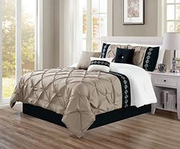 queen taupe black white double