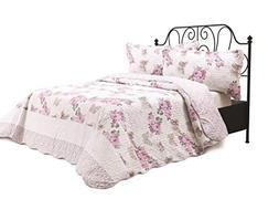 Chiara Rose 3 Piece Reversible Quilt Set Bedspread Coverlet
