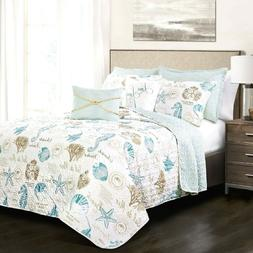 Quilt Set Queen Bed Comforter Bedding Cover Beach Blue Taupe