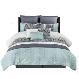 Wonder-Home 10 Piece Quilted Comforter Set with Matelassé &