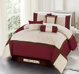 11-Pc Quilted Diamond Square Patchwork Modern Comforter Curt