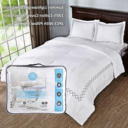 Light Weight Quilted Comforter Set 3PCS With Pillow Cases 10