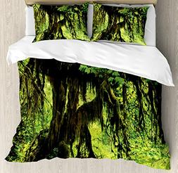 Ambesonne Rainforest Decorations Duvet Cover Set, Tree with