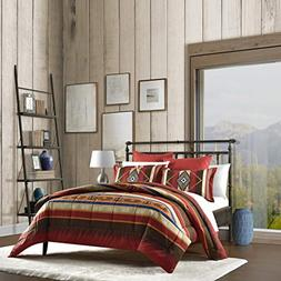N2 3 Piece Red Brown Yellow Blue Southwest Themed Comforter