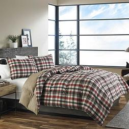 OSD 3pc Red Dark Grey White Tartan Plaid Comforter Full Quee