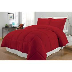 Red Solid Pattern Comforter Full Queen Set Luxury Modern Bed