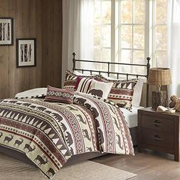 DP 7pc Red Tan Brown Southwest Nature Comforter Queen Set, H