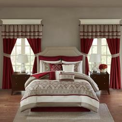 Madison Park Red Taupe Luxurious 24 Piece Bedding Comforter