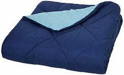 AmazonBasics Reversible Microfiber Comforter Full/Queen Navy