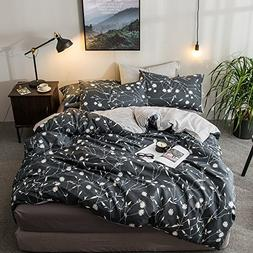 HIGHBUY Reversible Queen Duvet Cover Cotton Bedding Sets Dar